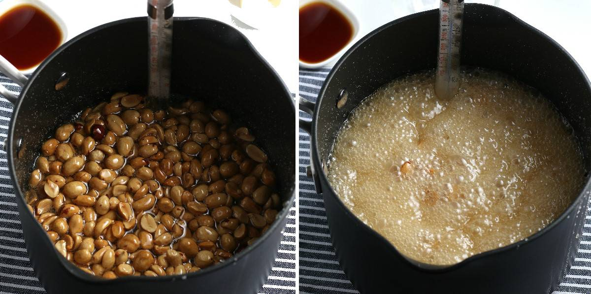 Two process photos showing peanuts in the pan and then boiling to a high temp.