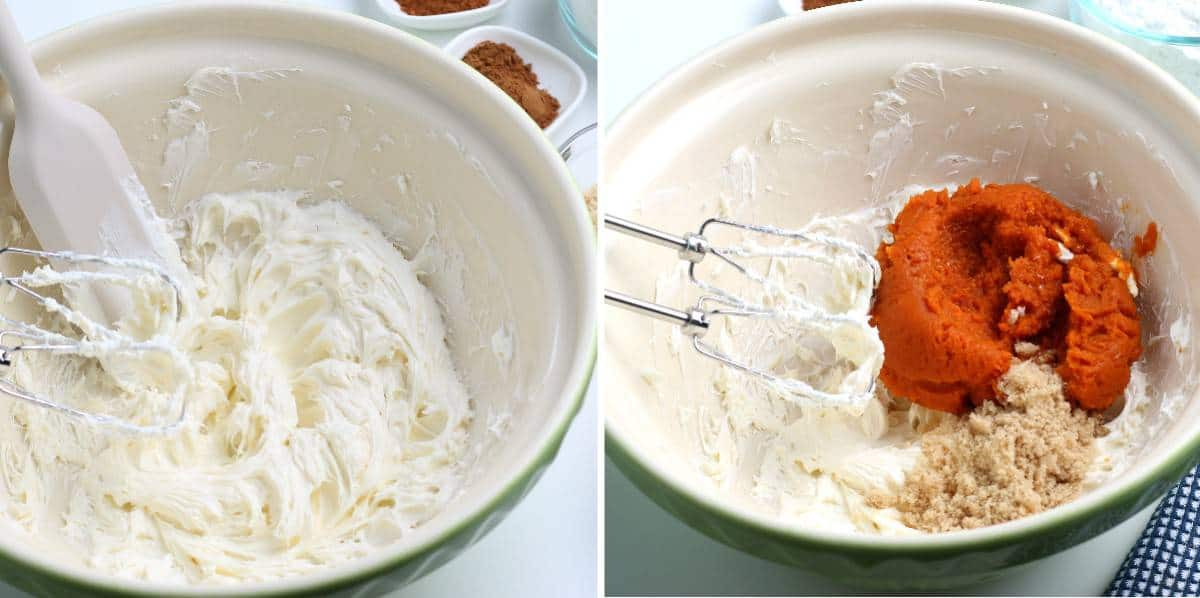 Two process photos showing cream cheese being whipped and then adding pumpkin.