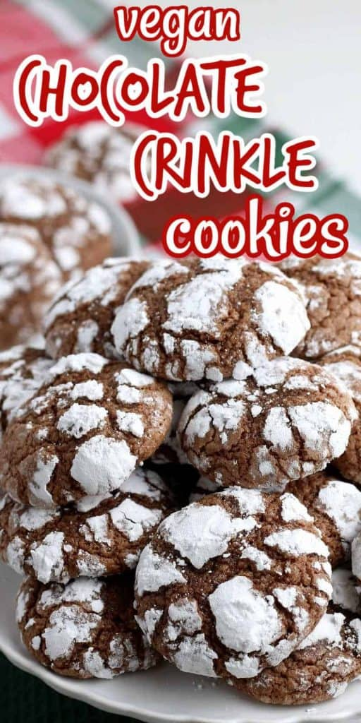 A pile of snow crackled cookies with text above.