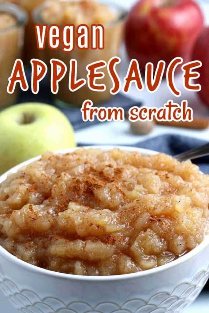 Close up of a white bowl filled with applesauce and text above.