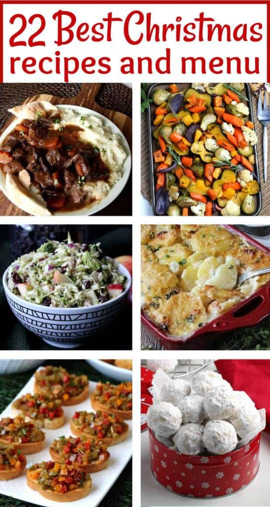 Six photos of Christmas recipes with text at the top for pinning.