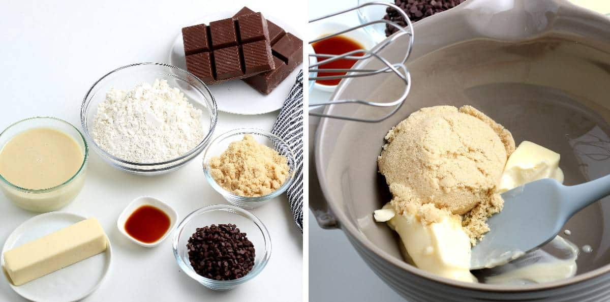 Two photos show ingredients and creaming the sugar and butter together.
