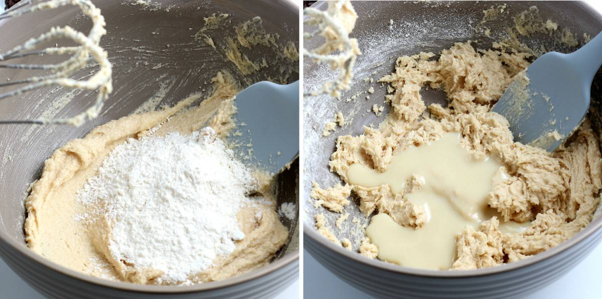 Two photos showing adding flour and the vegan milk to the mix.