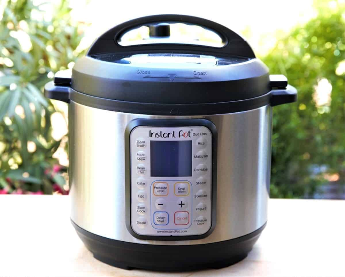 Front photo of an instant pot for the healthy vegan recipes instant pot.