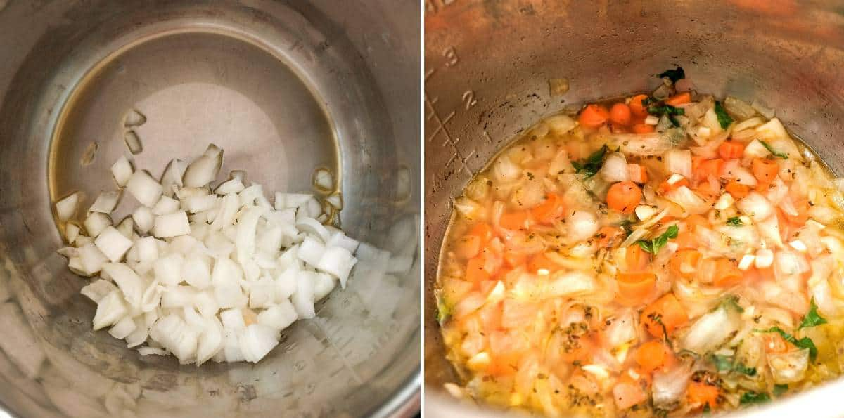 Two process photos showing onions sauteing and more ingredients added.