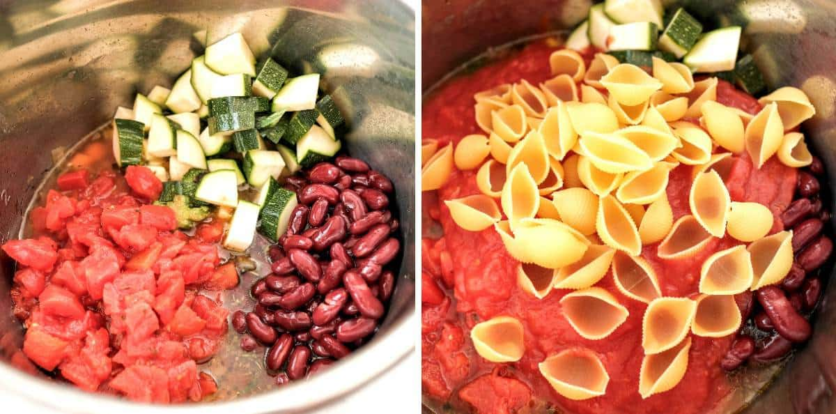 Two process photos with an instant pot showing ingredients added for minestrone soup.
