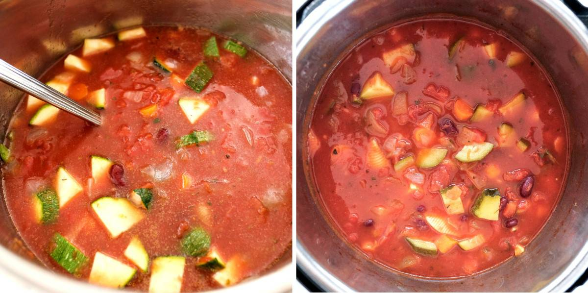 Two process photos showing ingredients uncooked and cooked in an instant pot.