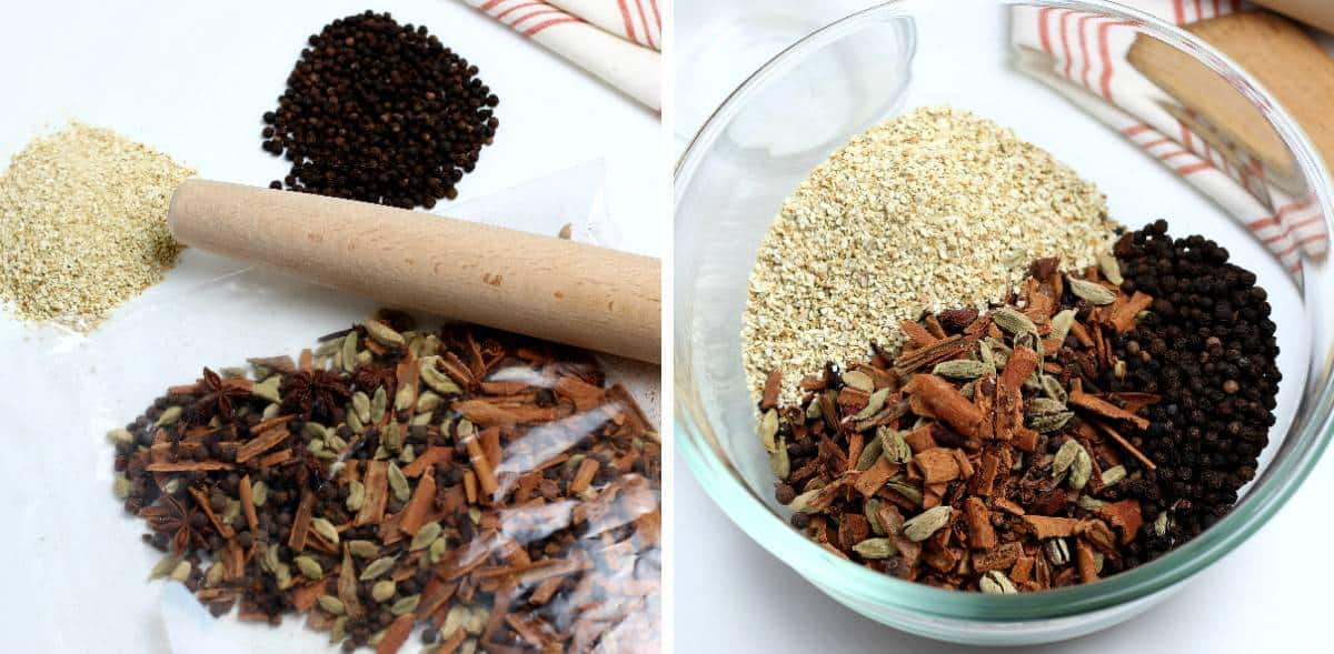Two photos showing the crushed ingredients and two additional spices in a bowl.