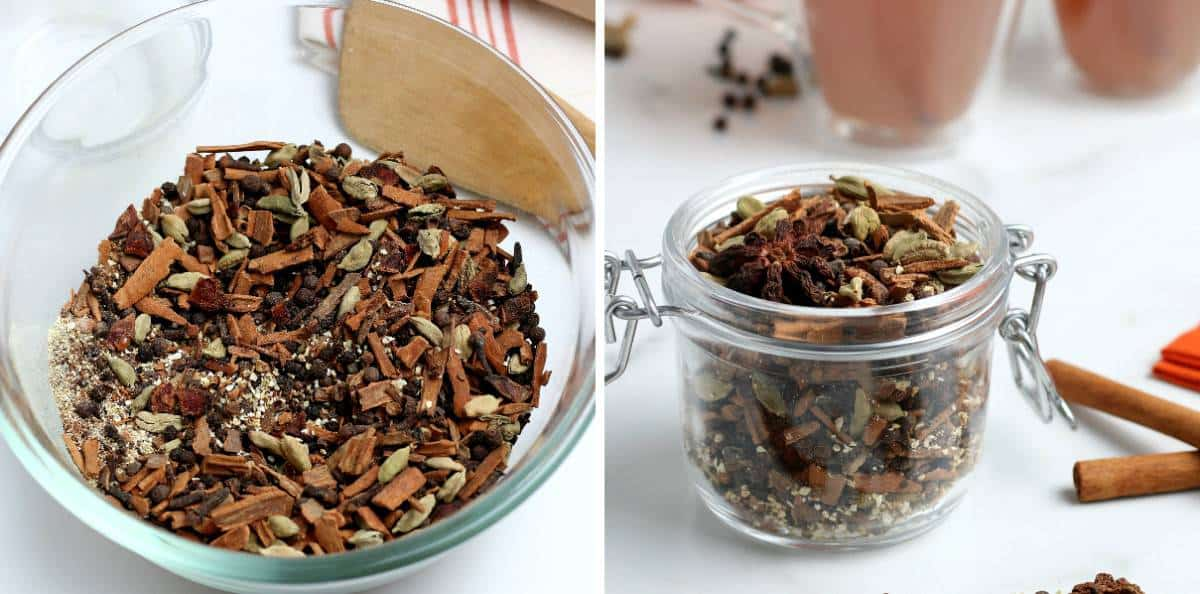 Two photos with the spice mix in a bowl and then in a canning gift jar.
