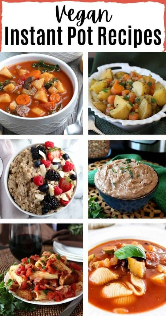 6 photos and a heading to illustrate the vegan Instant pot roundup