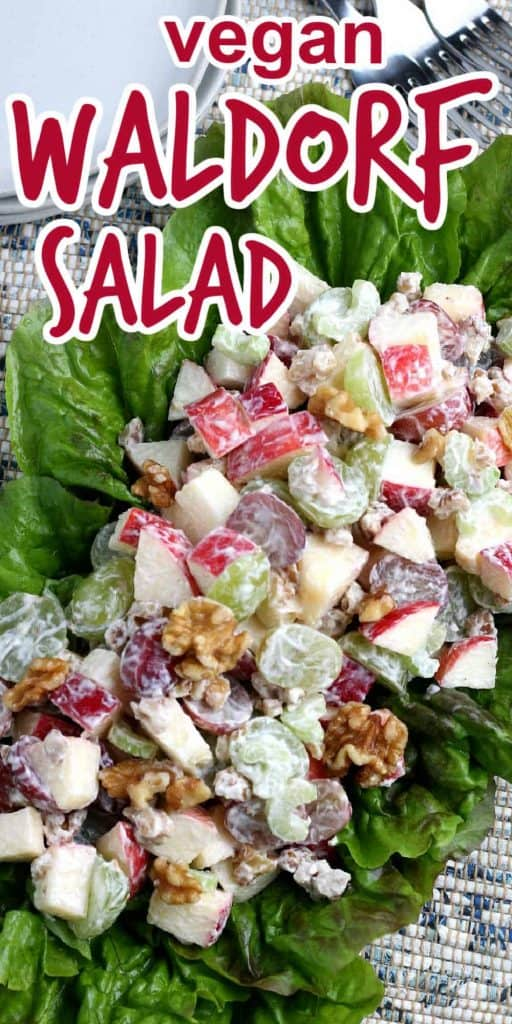 Bed of lettuce filled with fresh fruit Waldorf Salad.