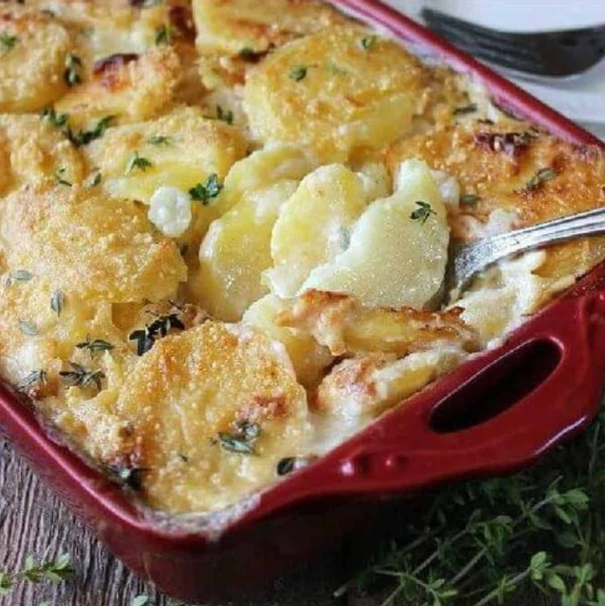 Tilted red casserole with golden brown baked scalloped potatoes.
