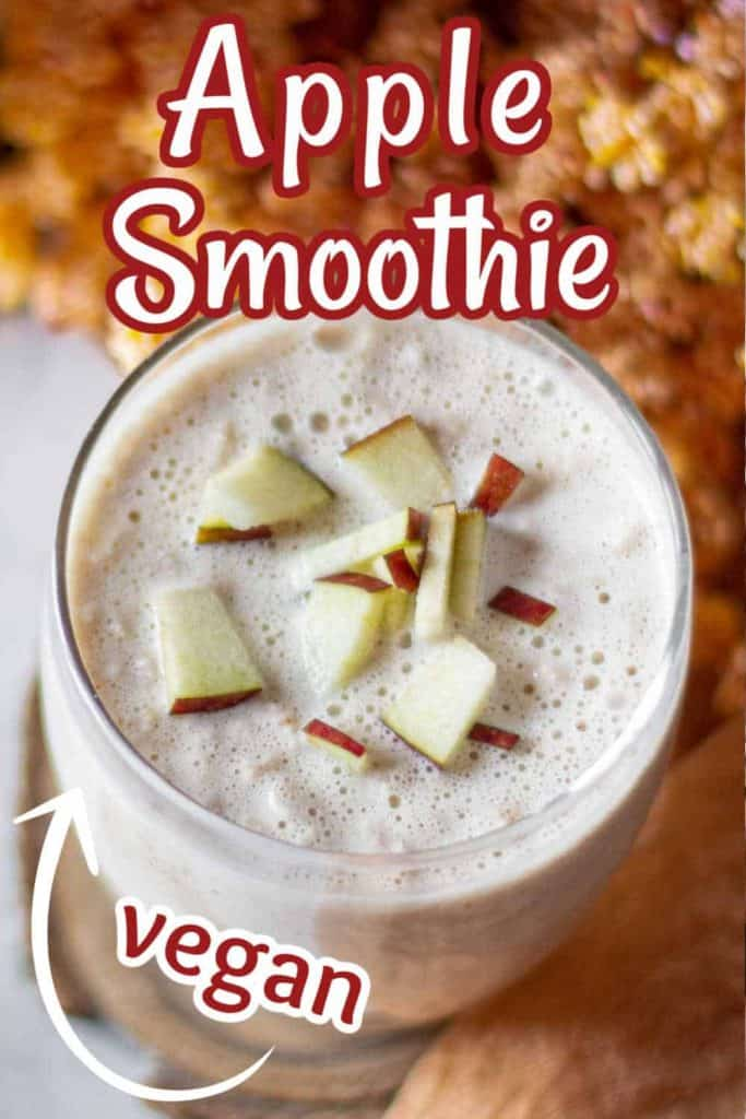 Tilted glasful of apple smoothie with text above and below.