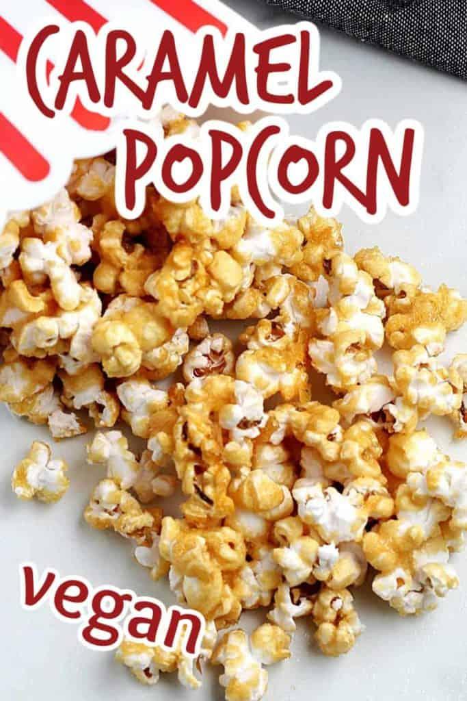 Spilled popcorn box of caramel popcorn.