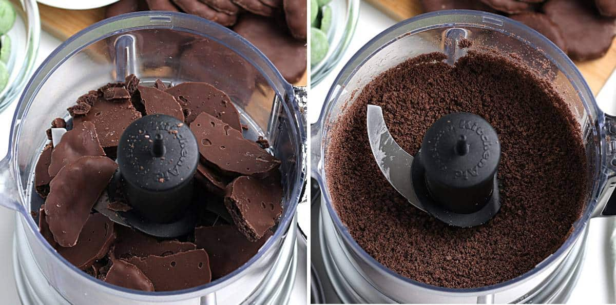 Chocolate mint cookies in a food processor and then crumbed.