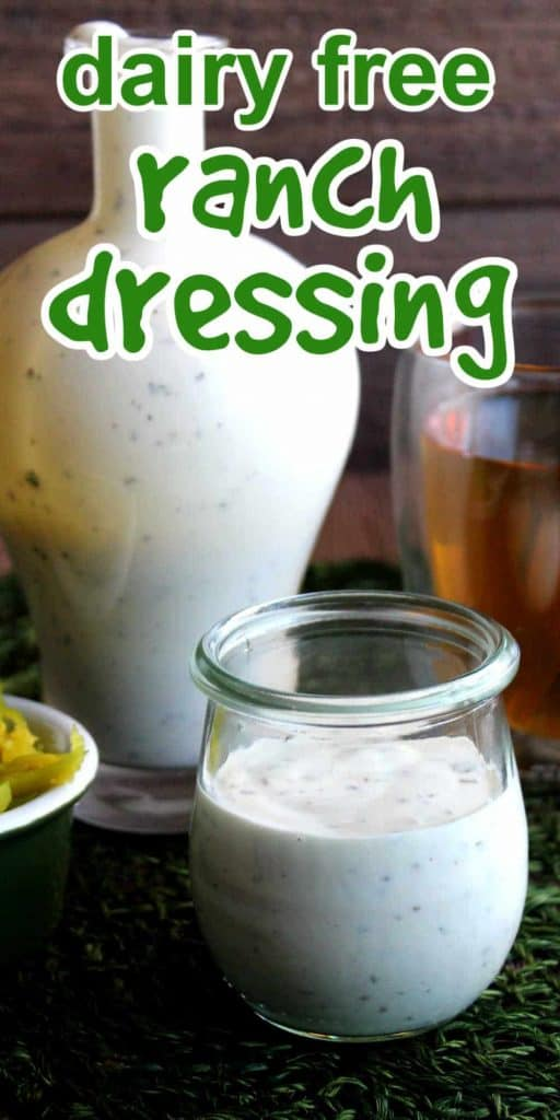 Jar of ranch dressing in front of a jug full. Green text above.
