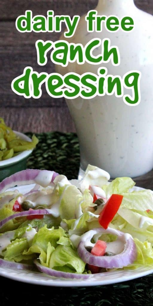 Jar of ranch dressing behind a fresh green salad. Green text above.