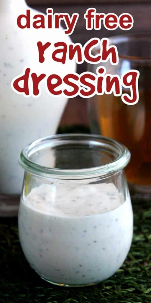 Jar of ranch dressing in front of a jug full. Red text above for pinning.