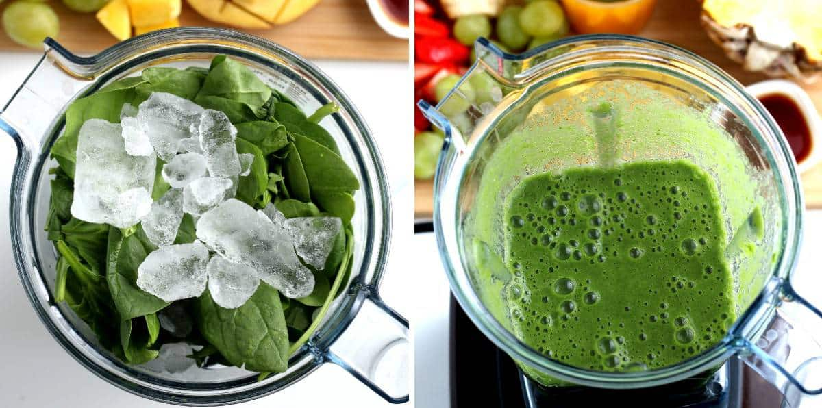 Two process photos showing spinach and ice in the blender and then blended.