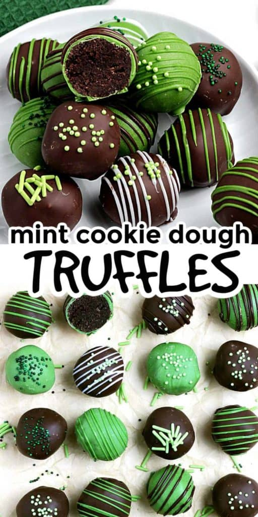 A pile of green and chocolate mint cookie truffles and also in a line.