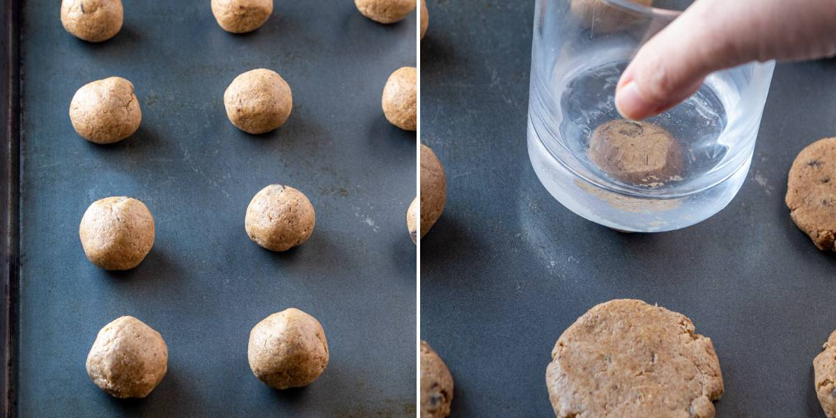 Two process photos showing the rolled balls on a baking sheet and then flattening them.