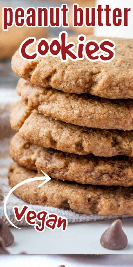 Stack of five cookies cropped on the right and with text.