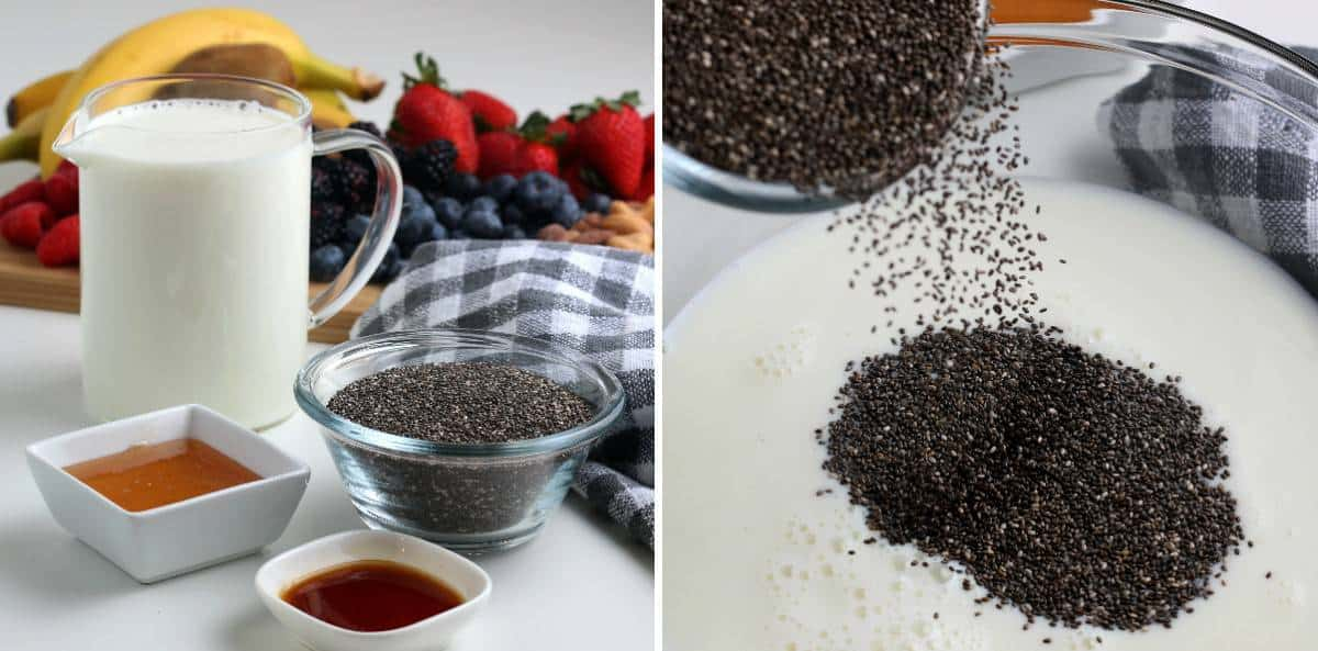 Two process photos of the ingredients and sprinkling chia seed onto dairy free milk.