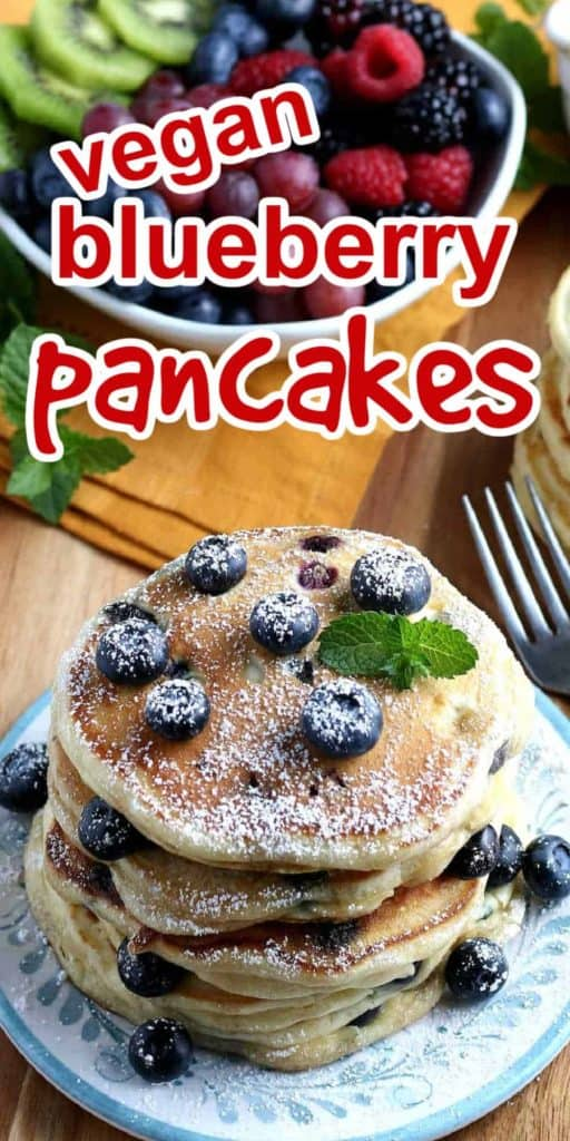 Extra long photo for pinning with blueberry pancakes stacked on a plate.