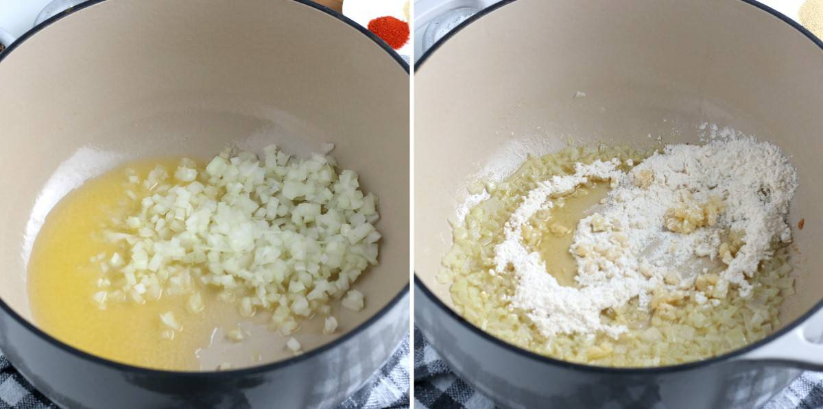 Two photos showing sautéing onion and then stirring in the flour.
