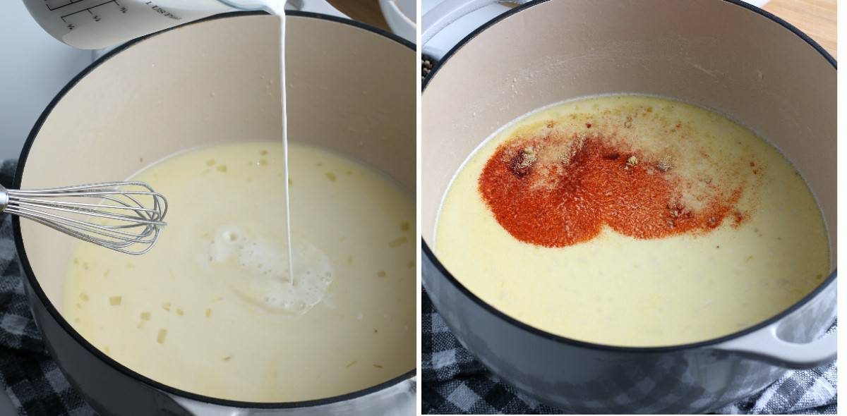 Two photos showing thickening the base with dairy free dream and adding spices.
