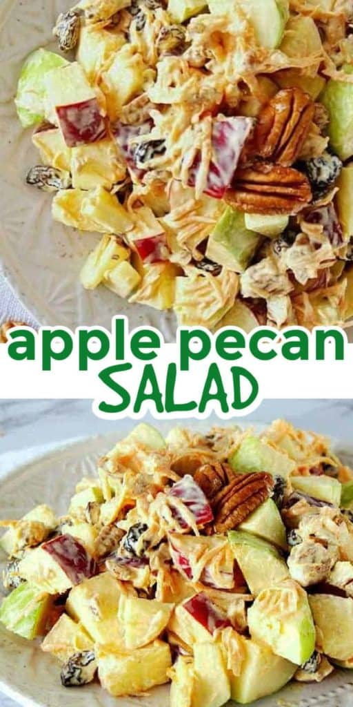 Two close up photos with chopped apples, pecans and dressing.
