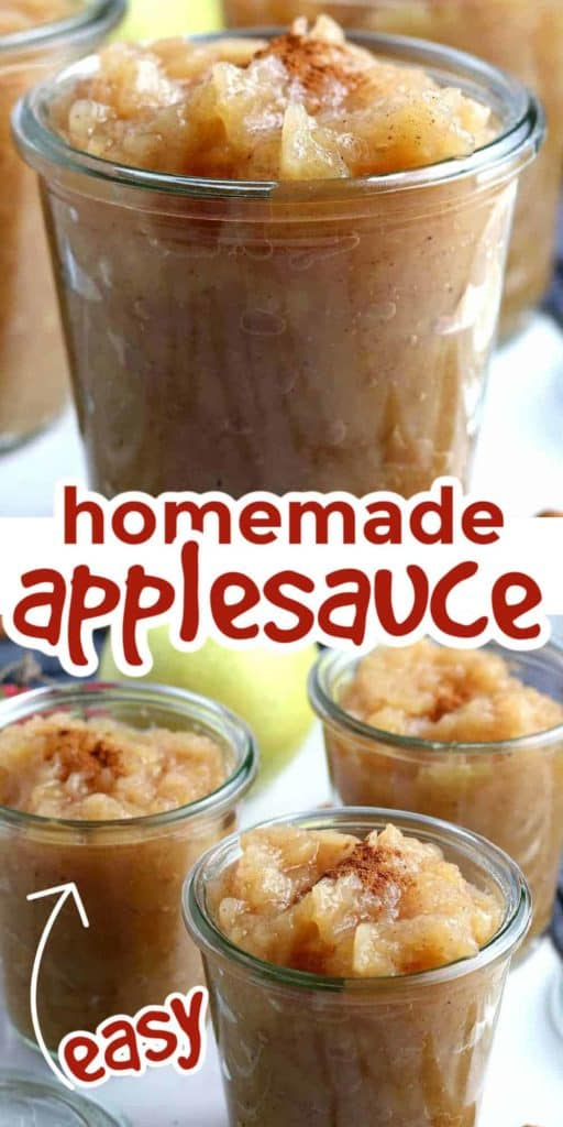 Close up of applesauce in a jar and three jars grouped together.