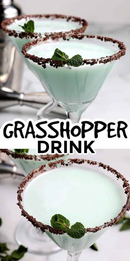 Two stemmed martini glasses are filled with a grasshopper green cocktail.