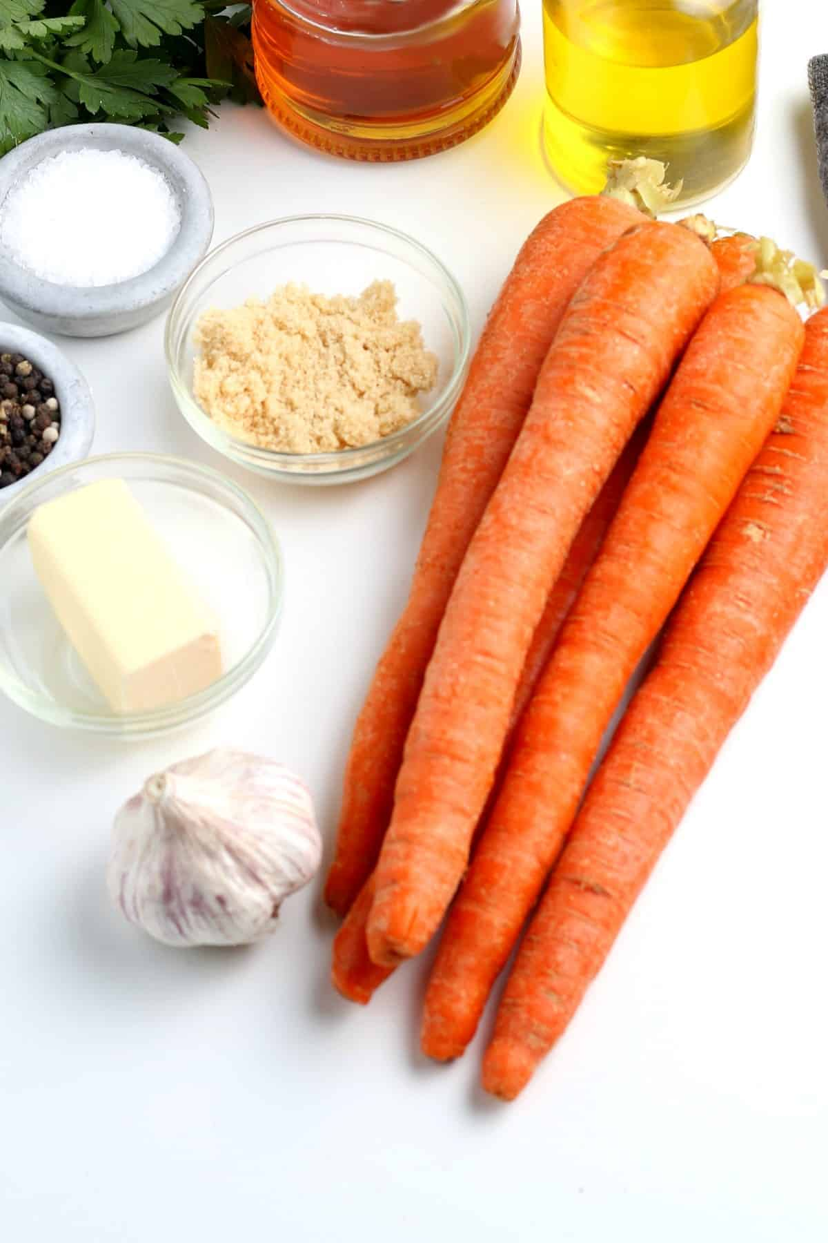 Ingredients to make glazed maple carrots all measured out.