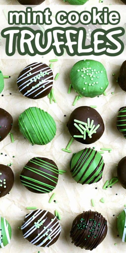 Chocolate and Green candy truffles lined up in a raw with text above.