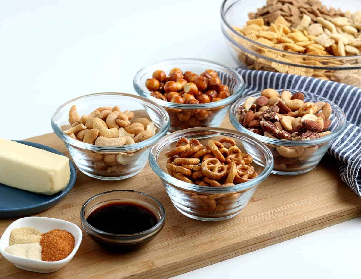 All the ingredients for a classic cereal and nuts party mix.