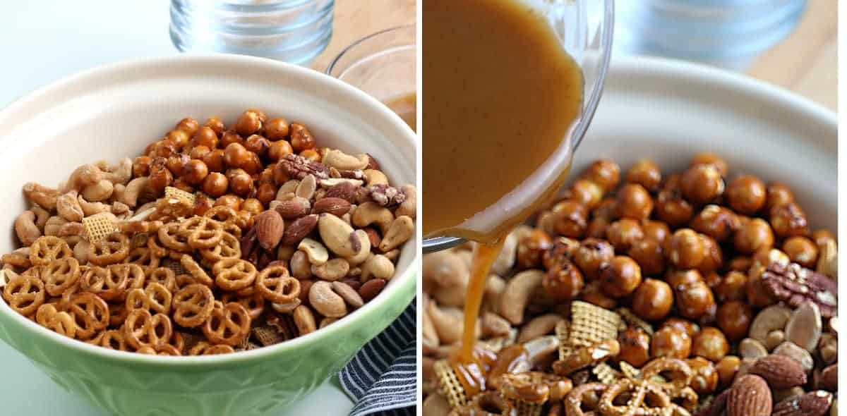 Chex mix in a large bowl and the seasoned liquid being poured over all.