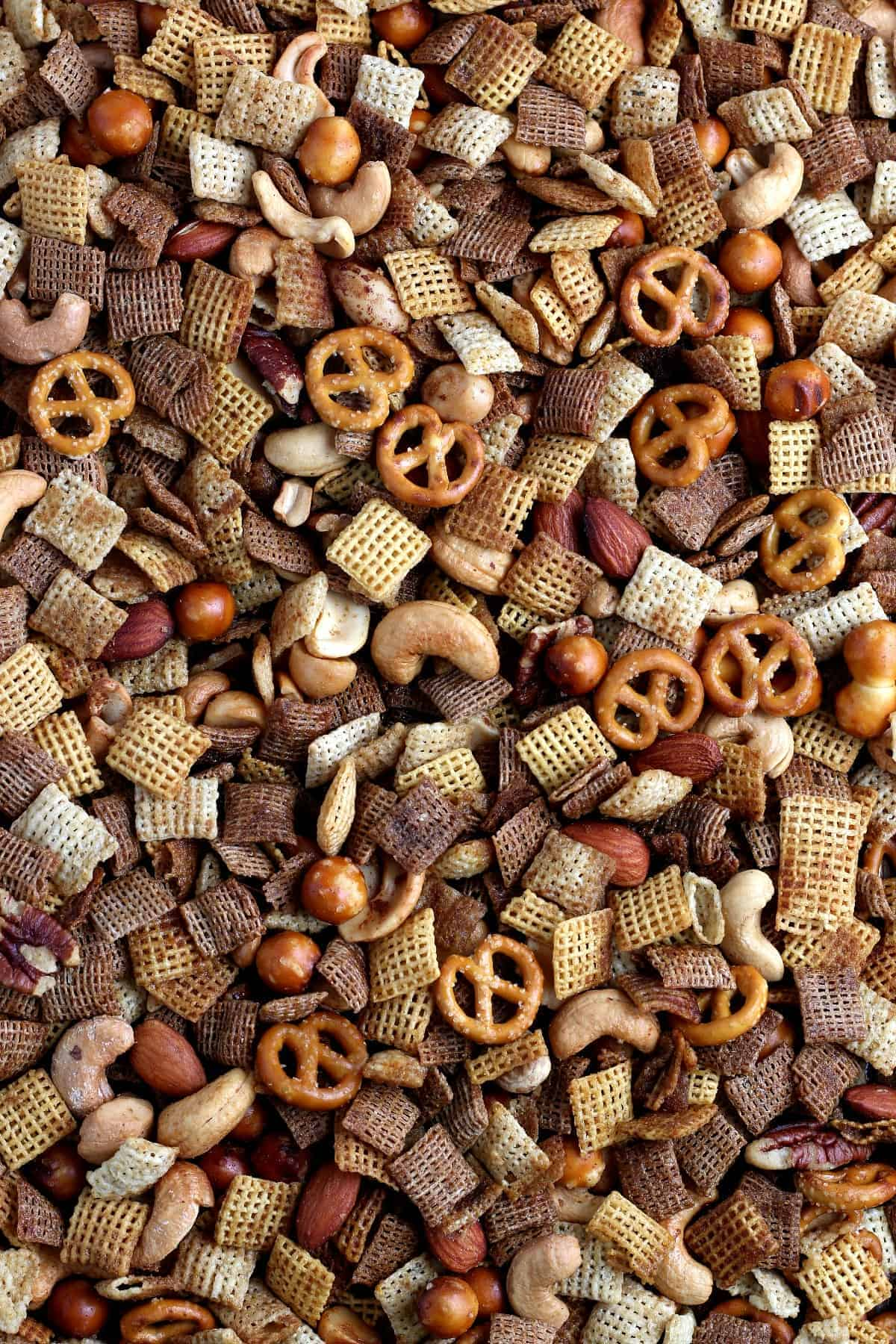 Close up overhead view of the snack mix straight of the oven.