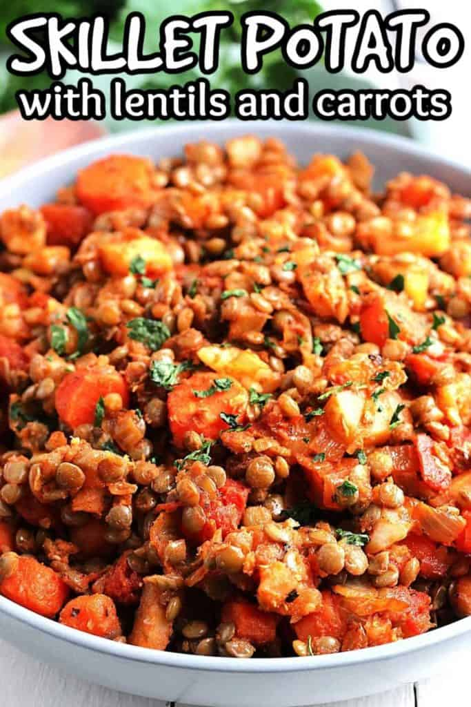 Close up angled view of potatoes, lentils, ,and tomatoes as a hash.