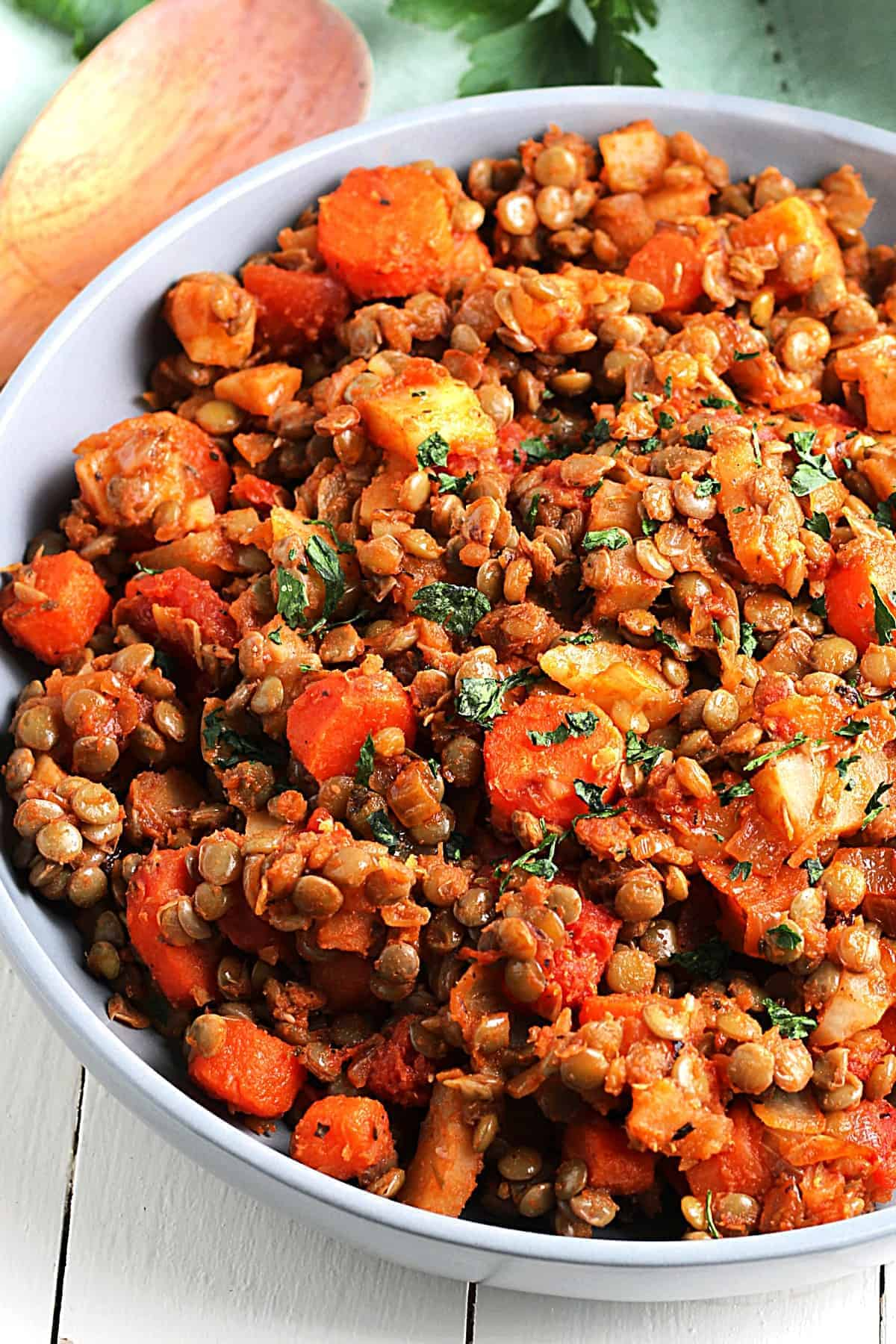 Cropped bowl full of potatoes, tomatoes, lentils and carrots for vegan hash.