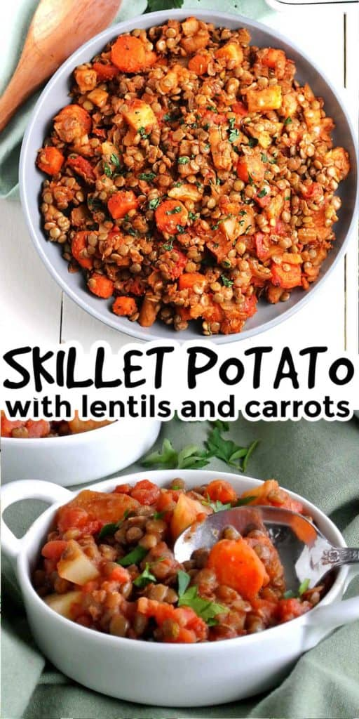 Two photos showing vegan hash with potatoes, lentils and carrots.