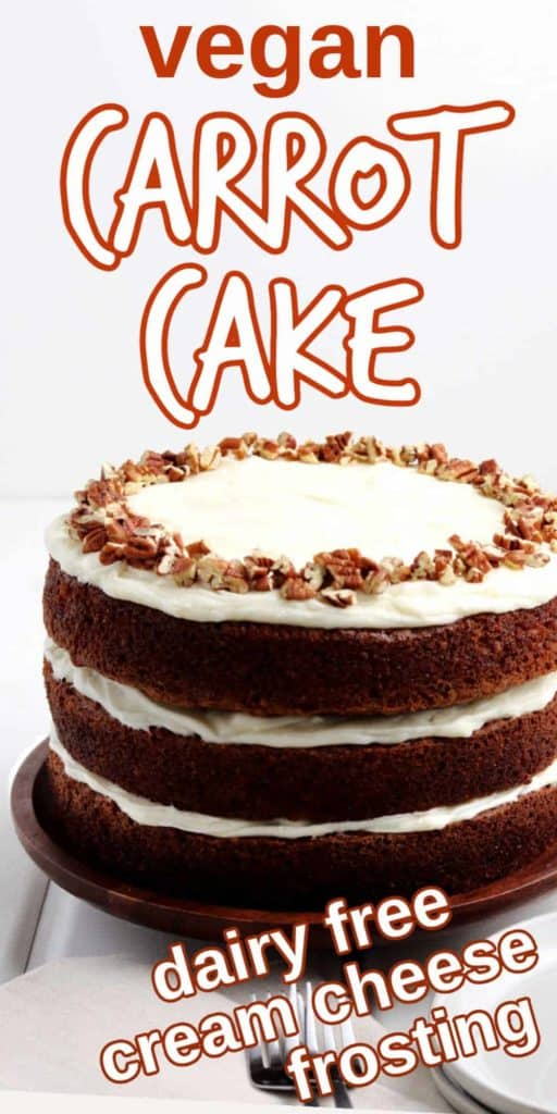 A full decorated carrot cake with icing oozing out the sides with text above.