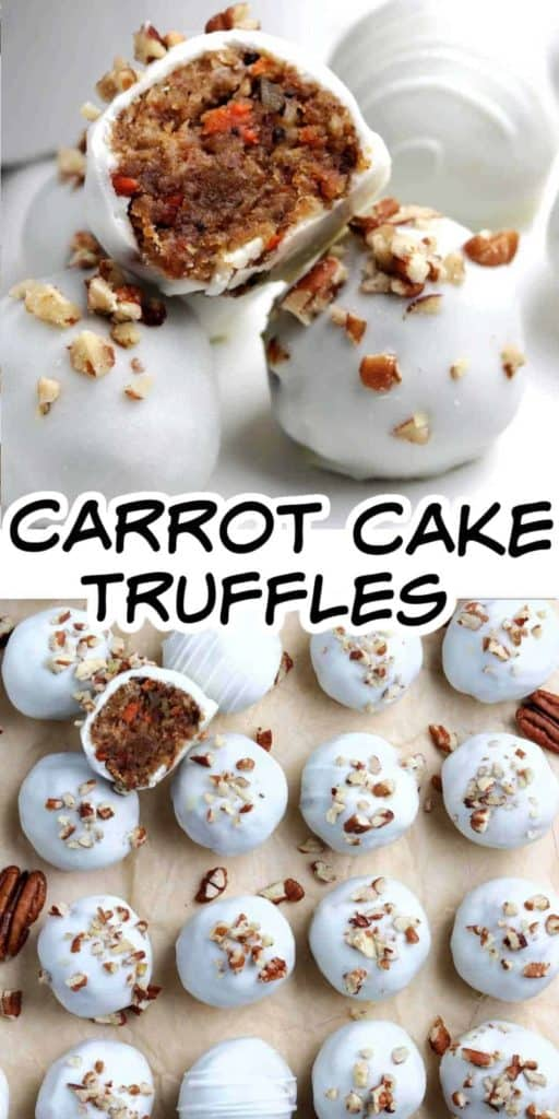 Carrot Cake truffles lined up and in a row with text.