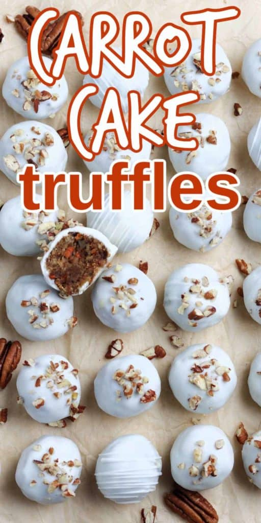 Carrot Cake truffles lined up and in a row with one cut in half on top.