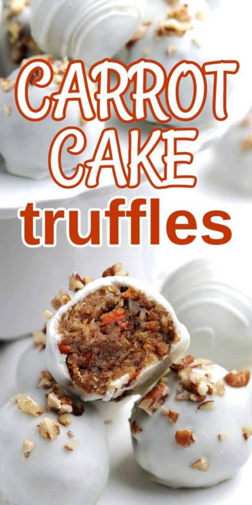 Carrot Cake Truffles with one cut in half to show the center and more behind.