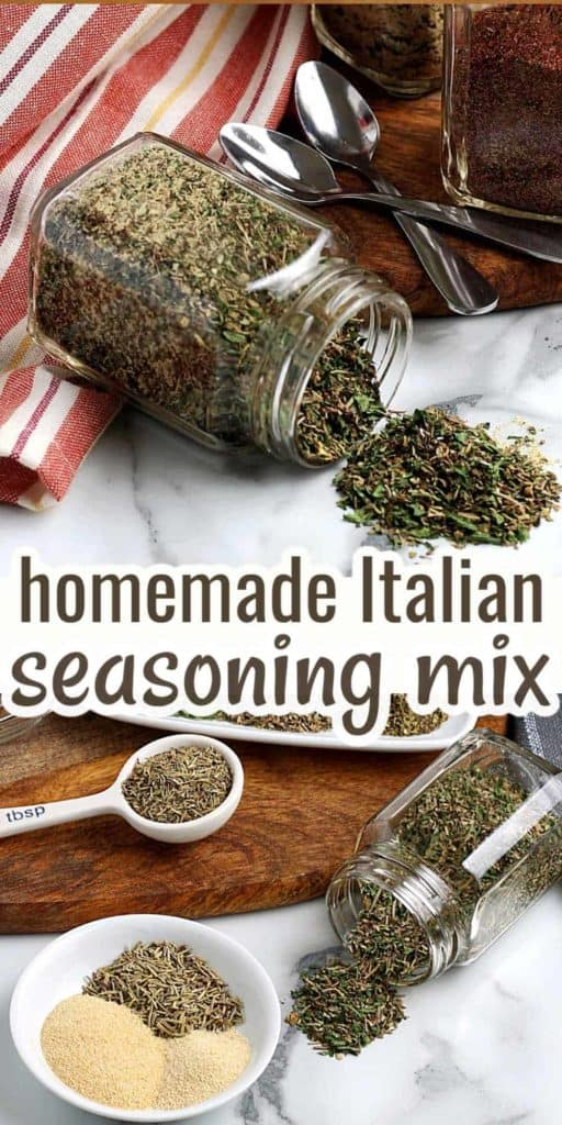 Two photos showing ingredients and mixed homemade Italian seasoning mix.