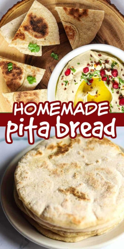 Two photos showing homemade pita bread and one with hummus.