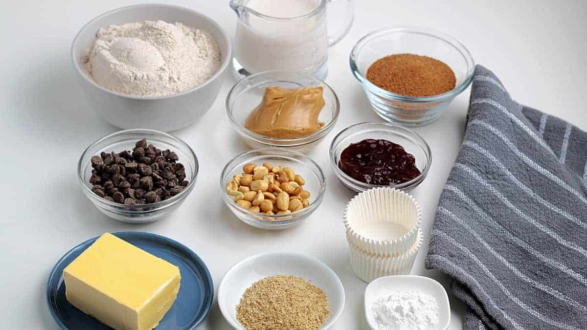 All of the ingredients for chocolate chip peanut butter muffins.