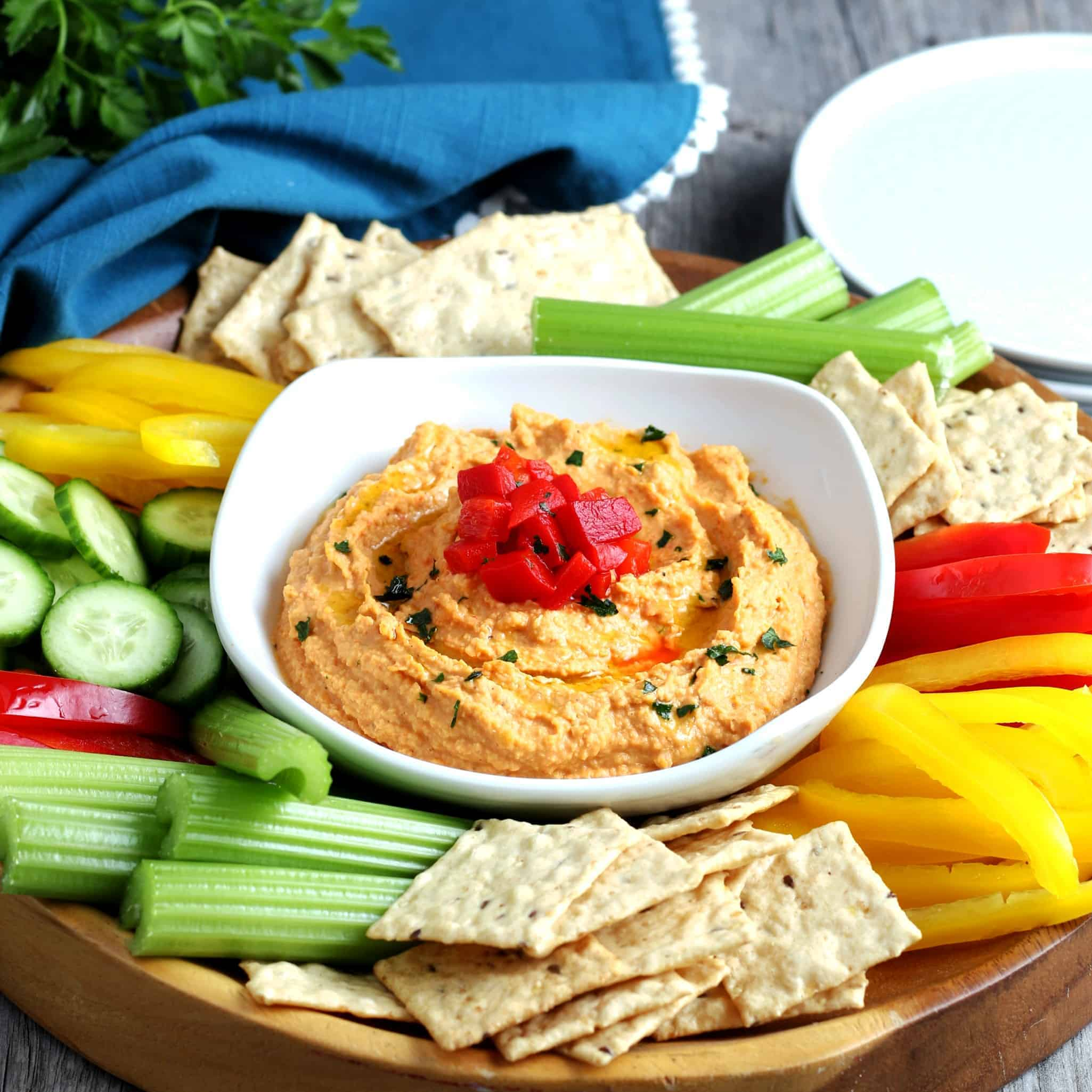 Front view of dip in a dish with lots of veggied and crackers around.