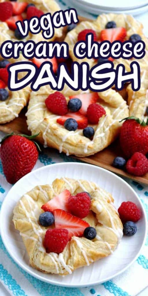 Centered Vegan Cream Cheese Danish drizzled with icing and text above.